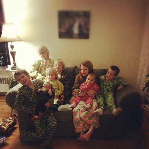 Kiddos and cousin in Christmas jammies made by Grammie. @katiesgrasso
