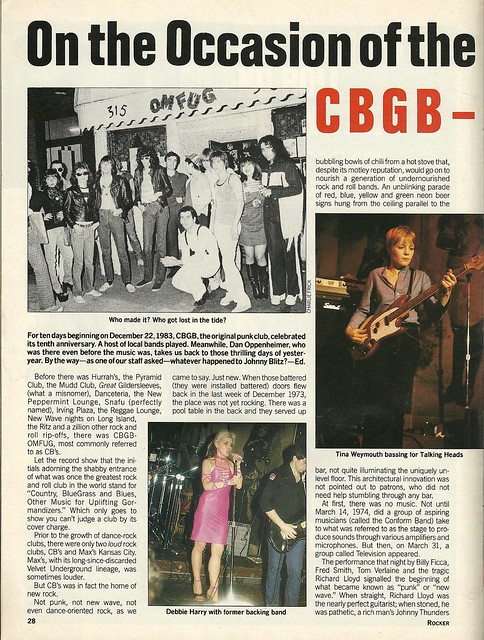 March 1984 New York Rocker Magazine (CBGB)
