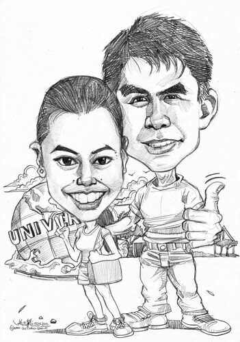 couple caricatures in pencil @ Universal Studio Singapore
