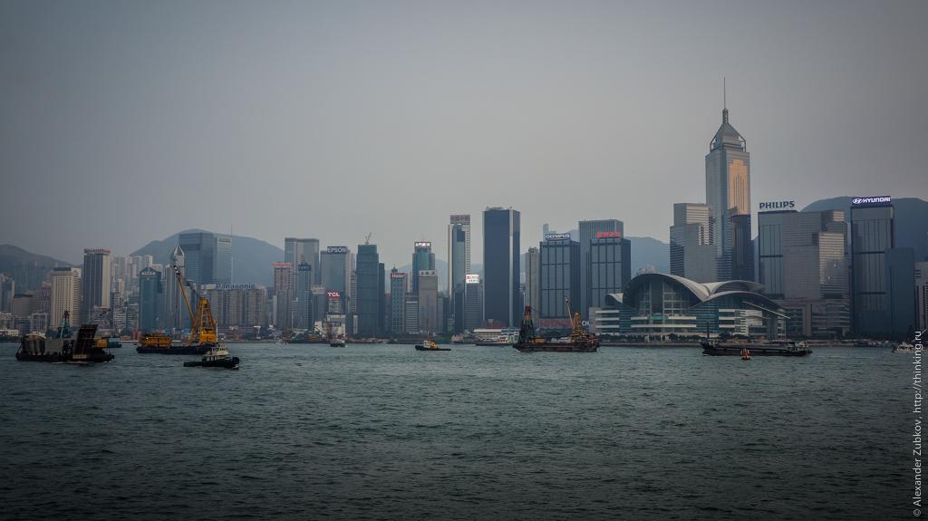 Вид на вечерний Гонконг