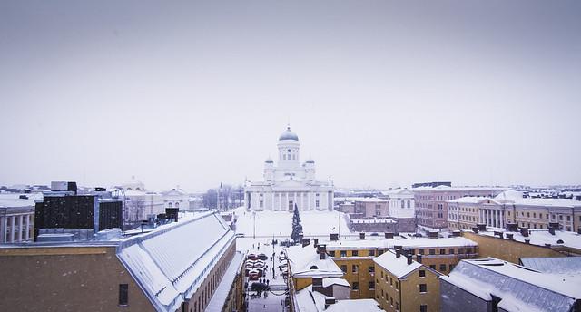 Helsinki nevado en el centro