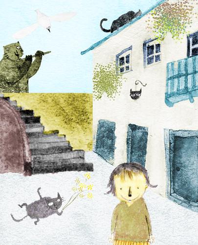 街頭巷尾 圖中的小朋友畫的是我的姪女。在有貓出沒的街頭巷尾,是不是也能算是一條街「生物多樣性」的展現呢? 我想插畫和照片最大的不同是,插畫中的風景多少可以「憑想像捏造」,有些也許是想像世界,但有時候又比真實更真實。 印象中:那時候日光正好,而且貓咪路過的模樣,彷彿音樂在流動。