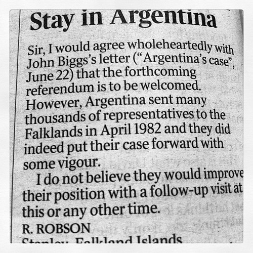 Stay in Argentina. From today's Times by Mike Rawlins