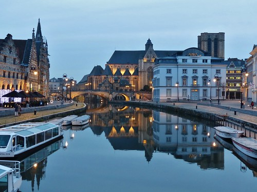 bridge sunset reflection church architecture boot boat belgium belgique belgië iglesia kirche clear chiesa explore getty bluehour brug bateau bel église ghent gent kerk aaa gand architectuur leie gante flanders belgien bélgica reflectie vlaanderen oostvlaanderen flandern belgia ruby3 flandre flandes eastflanders thegalaxy ベルギー explored flemishregion simplysuperb blauwuur flhregion panasonicdmcfz200