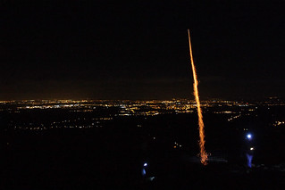 Firework launching from Moel Famau, Clwydian Range AONB, Denbighshire, North Wales, UK