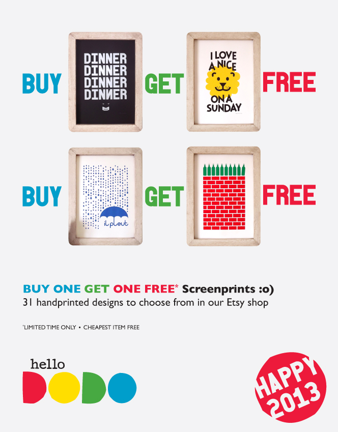 HAPPY_2013_hello_DODO_SALE_Discount_Homeware_Screenprint_Design_Fun