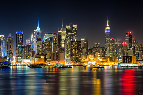 park city nyc newyorkcity longexposure light ny newyork color reflection skyline night skyscraper river print photography lights photo newjersey scenery colorful cityscape unitedstates image manhattan fineart scenic picture midtown esb hudsonriver empirestatebuilding weehawken ledlights hamiltonpark mikeorso