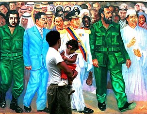 A Caracas resident walks past a mural 12 December, 2002, depicting (L-R) late Cuban-Argentine guerrilla leader Ernesto Che Guevara, Iraqi President Saddam Hussein, Venezuelan President Hugo Chavez, Cuban President Fidel Castro and Libyan leader Moamer Kad by Pan-African News Wire File Photos