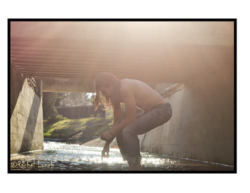 bridge light boy man reflection water pool creek river mirror shadows natural reflective walkonwater lightplay godrays longhairedman godray manwithlonghair