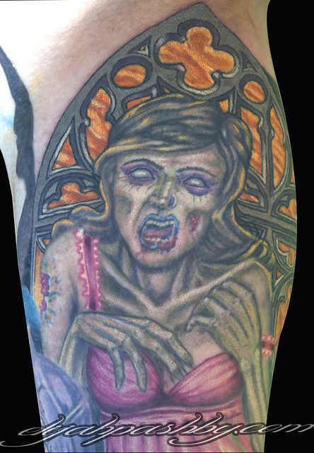 Zombie woman church door flickr photo sharing for Zombie tattoo machine