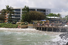 The boardwalk at the centre of the Bargara village.