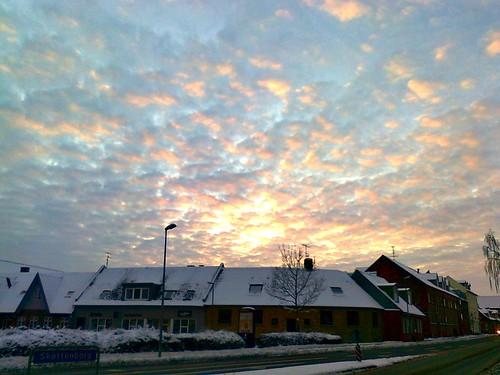 city winter sunset sky urban clouds dusk viborg