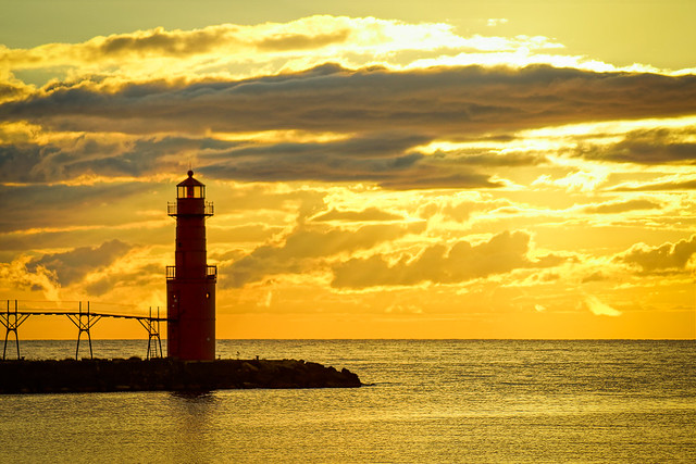 Algoma Lighthouse, Sunrise, Lake Michigan, Clouds, Landscape