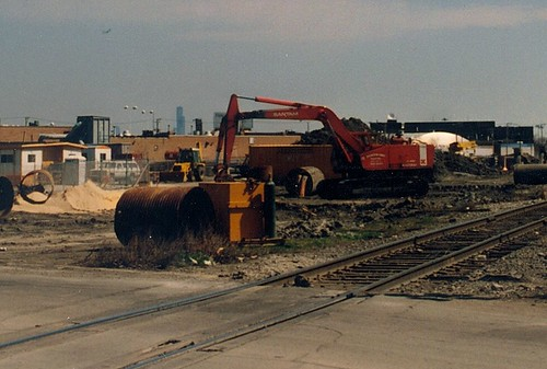 Construction of the Chicago Transit Authority's orange line rapid transit to Midway Airport.  Chicago Illinois.  April 1989. by Eddie from Chicago