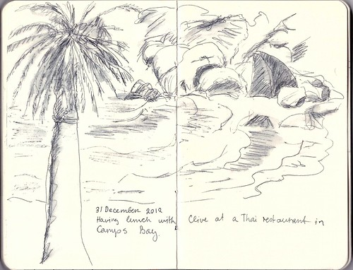 Pen & wash sketch at Camps Bay