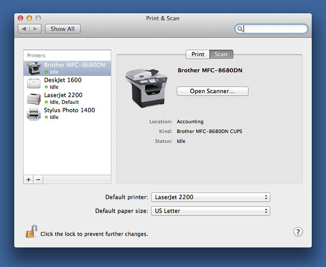 Print & Scan preference pane
