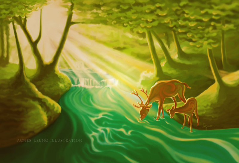Deers by the stream
