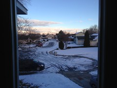 The view from our front window of the Boise foothills