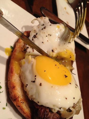 Eggs. Steak.