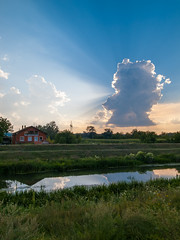 River landscape with beautiful cloud formation