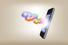 iPhone Smartphone Handy Telefon mit Apps - beiger Hintergrund