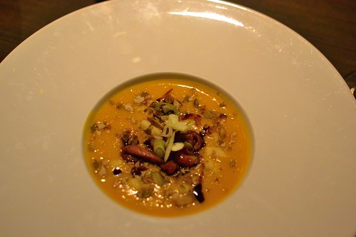 Butternut Squash Soup with Crispy Duck by pjpink