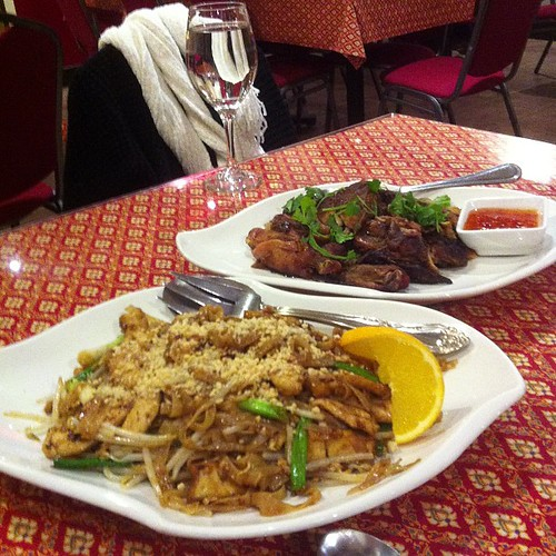 Pad Thai and oven roasted chicken. #yegfood by raise my voice