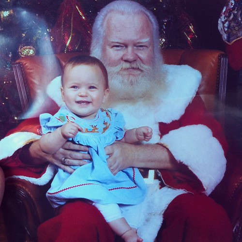 I mean, I'm not ashamed to admit I was hoping for a screaming santa photo, but damn if my kid isn't cute with that grin