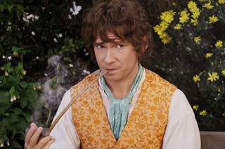 Bilbo Baggins smoking thoughtfully frome THE HOBBIT AN UNEXPECTED JOURNEY