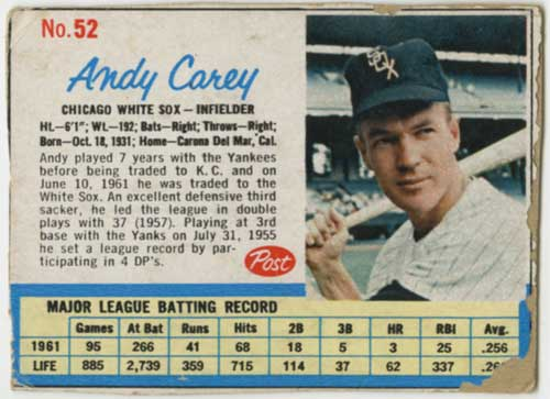 1962 Post Andy Carey