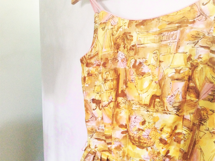 yellow drawn vintage sun dress a