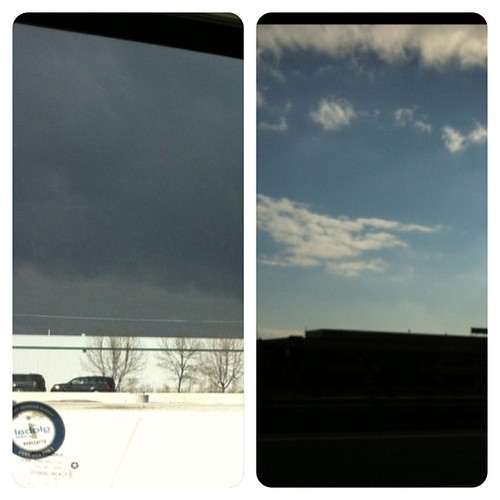 Left side of the car was dark and stormy. Right side of the car was bright and sunny. We were right I between the change...'twas interesting