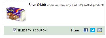 $1.00/2 Wasa Products Coupon
