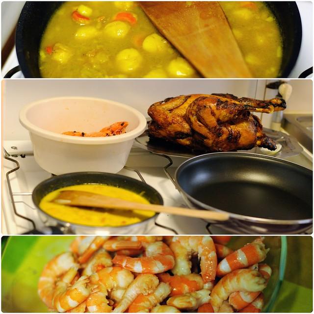 Noël 2012, chapon, crevettes, noix de Saint-Jacques