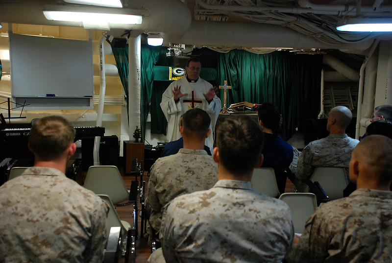 Bishop Neal Buckon delivers Christmas mass aboard USS Green Bay (lpd20)