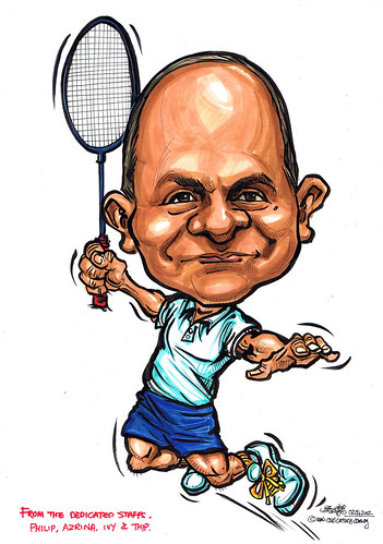 badminton player caricature for KPW Singapore Pte Ltd