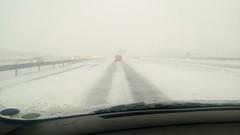 Snevejr den 23. december 2012 på e45