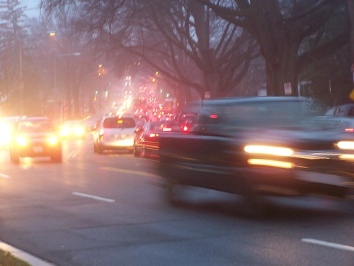 Traffic on Blair Road/North Capitol Street NW approaching New Hampshire Avenue, southbound