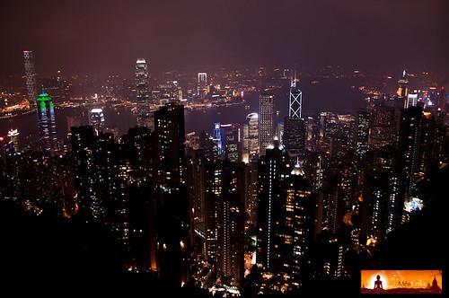 Hong Kong de noche, visto desde Victoria Peak