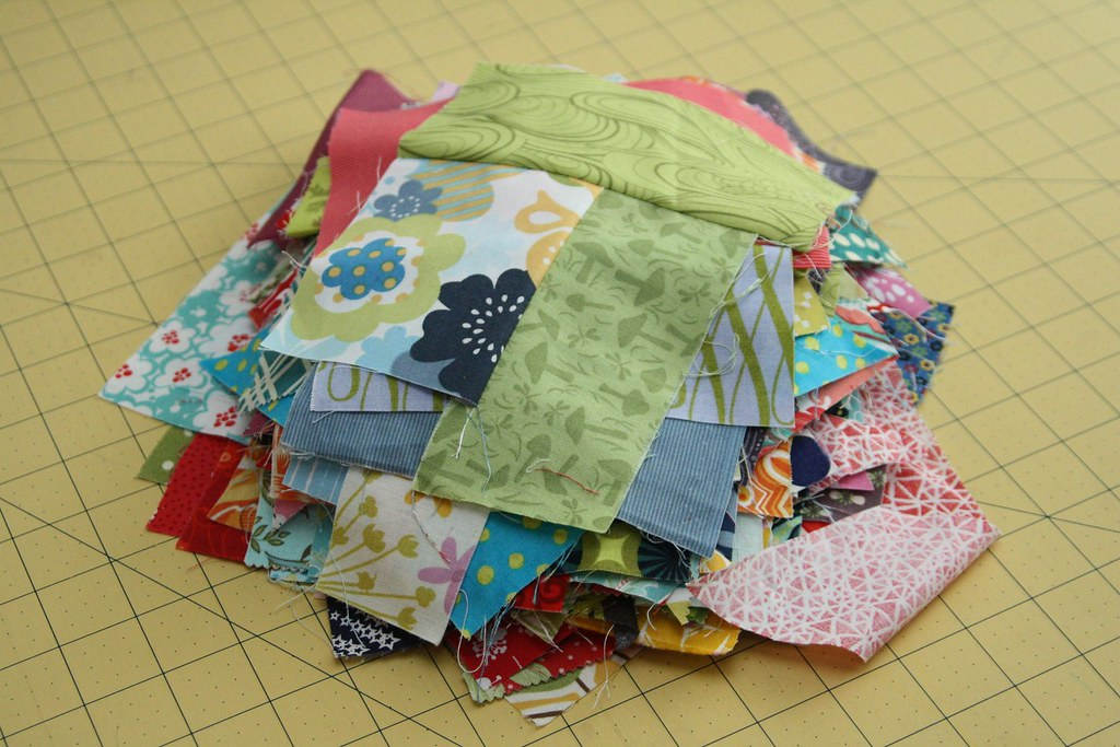 Crazy quilt pieces for Maple Leaf Rag quilt