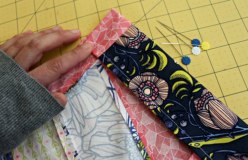 18. to make rod pocket, fold down 2 inches, press, and pin