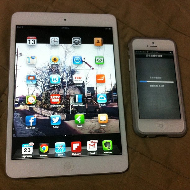 白色iPad mini + 白色iPhone5