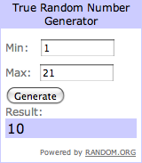 Screenshot from the True Random Number Generator. The minimum is 1 and the maximum is twenty-one. The result is 10.