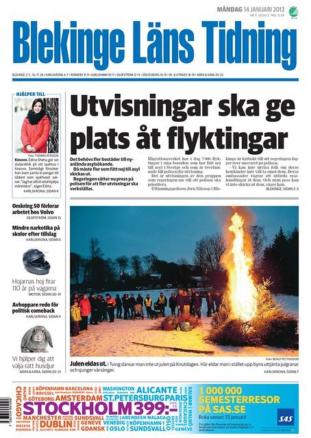 2013-01-14 BLT, Artikel - Julgransbål förstasida