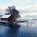 Boathouse in winter color by ShimmeringGrains.com