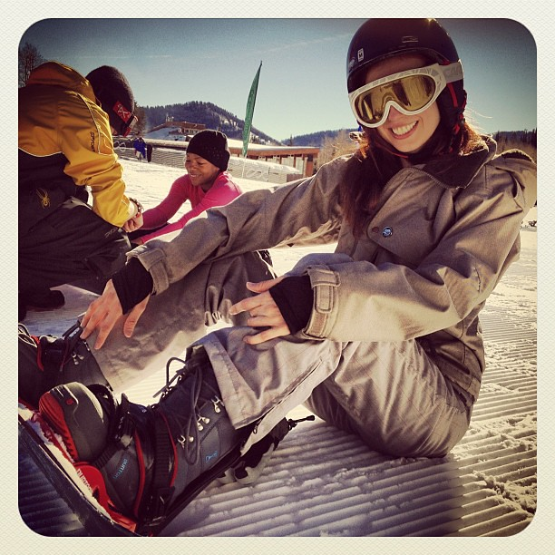 Learning the art of snowboarding with master teacher Brooks at @Thecanyons!