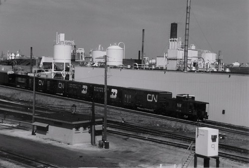 Westbound Norfolk Southern freight train entering the Belt Railway of Chicago Clearing Yard facility.  Chicago Illinois.  April 1989. by Eddie from Chicago