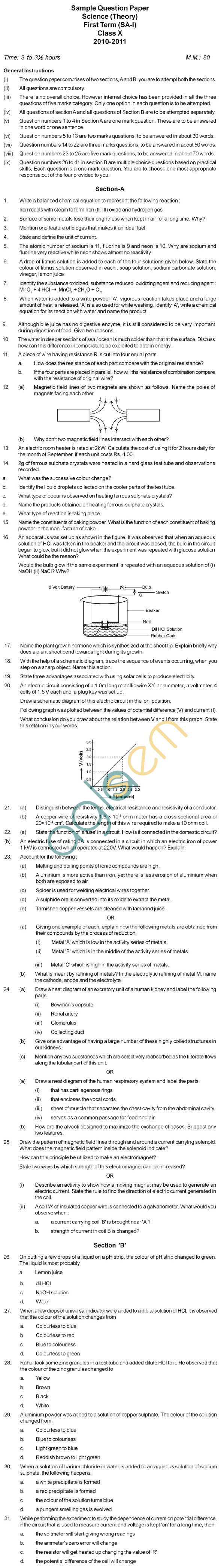 CBSE Class IX Social Science Sample Paper Part A AglaSem Schools