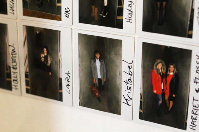 polaroids on a wall Urban Outfitters SS13 press day