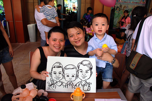 caricature live sketching for Mark Lee's daughter birthday party - 6